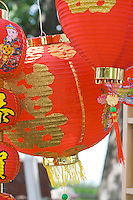 Colorful Asian lanterns hanging in concession stand. Dragon Festival Lake Phalen Park St Paul Minnesota USA