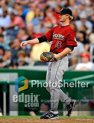 11 July 2008: Houston Astros' catcher J.R. Towles warms up a pitchers between innings during against the Washington Nationals at Nationals Park in Washington, DC. The Nationals shut out the Astros 10-0 in the first game of their 3-game series...Mandatory Photo Credit: Ed Wolfstein Photo