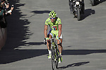 Peter Sagan (SVK) Cannondale crosses the finish line on Il Campo in Siena to finish 2nd at the end of the 2014 Strade Bianche race over the white dusty gravel roads of Tuscany running 200km from San Gimignano to Siena, Italy. 8th March 2014.<br /> Picture: Eoin Clarke www.newsfile.ie