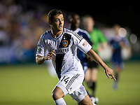 Robbie Rogers (14) of the LA Galaxy looks for the ball during a third round match in the US Open Cup at WakeMed Soccer Park in Cary, NC.  The Carolina Railhawks defeated the LA Galaxy, 2-0.