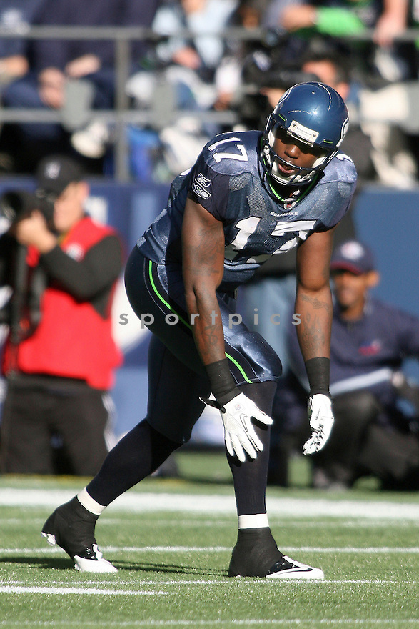 November 07, 2010:  Seattle Seahawks wide receiver #17 Mike Williams sets up at the line of scrimmage against the New York Giants at Quest Field in Seattle, WA.  New York won 41-7 over Seattle.
