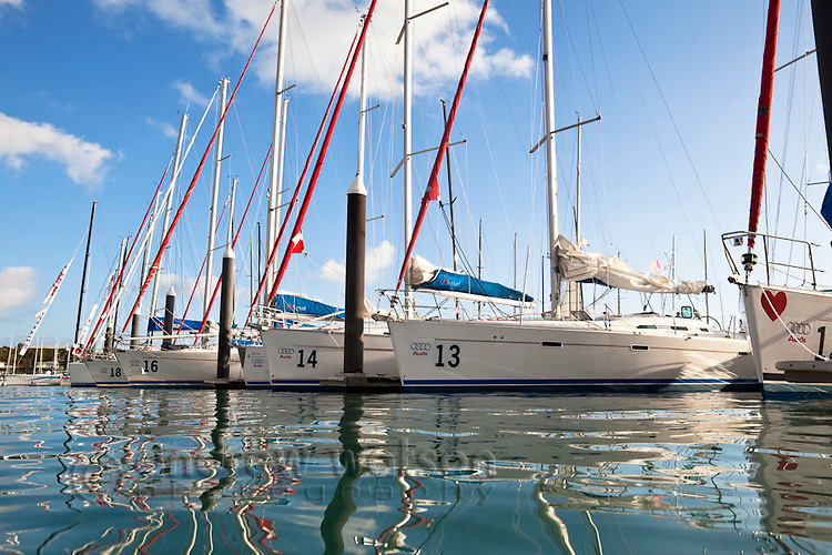 Racing yachts in marina during Hamilton Island Race Week.  Hamilton Island, Whitsundays, Queensland, Australia