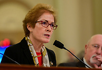 """Marie """"Masha"""" Yovanovitch, former United States Ambassador to Kyiv, Ukraine, on behalf of the US Department of State, is sworn-in to testify during the US House Permanent Select Committee on Intelligence public hearing as they investigate the impeachment of US President Donald J. Trump on Capitol Hill in Washington, DC on Friday, November 15, 2019. Credit: Ron Sachs / CNP/AdMedia"""