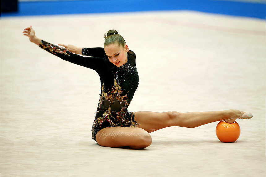 Marina Shpekt of Russia finishing sequence on carpet with ball at 2006 Portimao World Cup of Rhythmic Gymnastics on September 8, 2006.  (Photo by Tom Theobald)