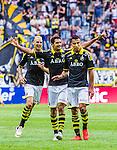 Solna 2014-07-12 Fotboll Allsvenskan AIK - Kalmar FF :  <br /> AIK:s Nabil Bahoui  har gjort 1-0 i den f&ouml;rsta halvleken och gratuleras av Celso Borges och Alexander Milosevic <br /> (Foto: Kenta J&ouml;nsson) Nyckelord:  AIK Gnaget Friends Arena Kalmar KFF jubel gl&auml;dje lycka glad happy