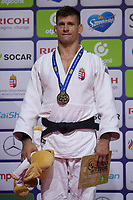 Miklos Ungvari of Hungary celebrates his victory during an awards ceremony after the Men -73 kg category at the Judo Grand Prix Budapest 2018 international judo tournament held in Budapest, Hungary on Aug. 11, 2018. ATTILA VOLGYI
