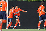 09 September 2011: Virigina's Brian Span (23) celebrates his goal with Eric Bird (11). The University of Virginia Cavaliers defeated the Duke University Blue Devils 1-0 at Koskinen Stadium in Durham, North Carolina in an NCAA Division I Men's Soccer game.
