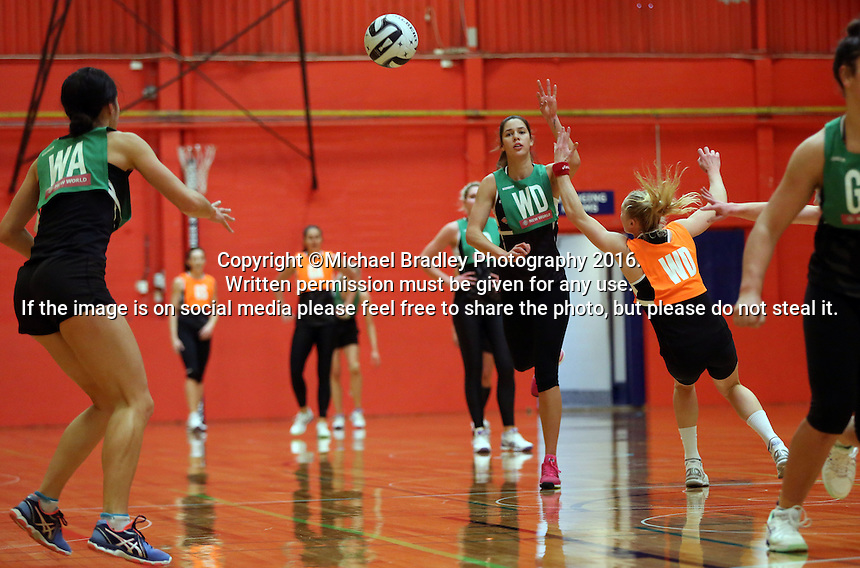 13.09.2016 Silver Ferns Kayla Cullen in action during training ahead of their second netball match tomorrow night between the Silver Ferns and Jamaica in Palmerston North. Mandatory Photo Credit ©Michael Bradley.
