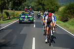 The breakaway forms after a few kilometres featuring Mads Pedersen (DEN) Trek-Segafredo, Julian Alaphilippe (FRA) Deceuninck-Quick Step and Miká Heming (GER) Dauner Akkon during Stage 3 of the Deutschland Tour 2019, running 189km from Gottingen to Eisenach, Germany. 31st August 2019.<br /> Picture: ASO/Marcel Hilger | Cyclefile<br /> All photos usage must carry mandatory copyright credit (© Cyclefile | ASO/Marcel Hilger)