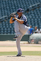 Pensacola Blue Wahoos pitcher Carlos Gonzalez (20) in action during a game against the Jacksonville Suns at Bragan Field on the Baseball Grounds of Jacksonville on May 11, 2015 in Jacksonville, Florida. Jacksonville defeated Pensacola 5-4. (Robert Gurganus/Four Seam Images)