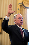 Attorney General Jeff Sessions is sworn-in in the Oval Office of the White House in Washington, DC, USA, 09 February 2017. On 08 February, after a contentious battle on party lines, the Senate voted to confirm Sessions as attorney general.<br /> Credit: Jim LoScalzo / Pool via CNP
