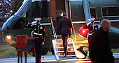 """President Barack Obama departs the Walter Reed National Military Medical Center in Bethesda, Maryland after visiting with wounded service members """"<br /> Credit: Dennis Brack / Pool via CNP"""