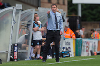 Derek Adams manager of Plymouth Argyle gives instructions during the Sky Bet League 2 match between Wycombe Wanderers and Plymouth Argyle at Adams Park, High Wycombe, England on 12 September 2015. Photo by Andy Rowland.