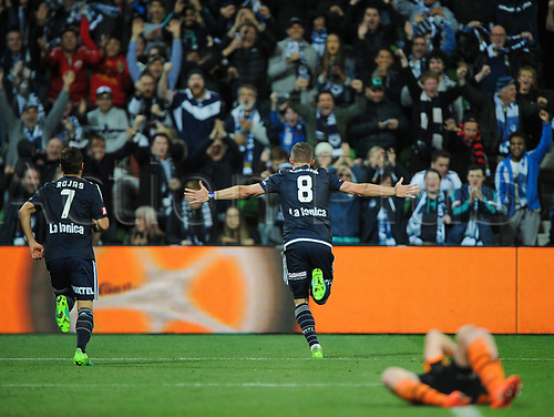30th April 2017, AAMI Park, Melbourne, Australia; Hyundai A-League Football; Melbourne Victory versus Brisbane Roar FC; Besart Berisha of the Melbourne Victory celebrates after kicking a goal to put the Melbourne Victory ahead; 1-0