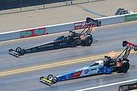 Jul 28, 2019; Sonoma, CA, USA; NHRA top fuel driver Brittany Force (near) alongside Mike Salinas during the Sonoma Nationals at Sonoma Raceway. Mandatory Credit: Mark J. Rebilas-USA TODAY Sports