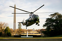 Marine One, carrying United States President Donald J. Trump, arrives on the South Lawn of the White House, on March 10, 2019 in Washington, DC. Trump spent the weekend at his Mar-a-Lago club in Palm Bech, Florida.<br /> CAP/MPI/RS<br /> &copy;RS/MPI/Capital Pictures