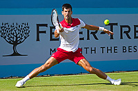 Novak Djokovic (SRB) in action during his match against Grigor Dimitrov (BUL), Fever-Tree Tennis Championships, Queens Tennis Club, London, England, 21st June 2018
