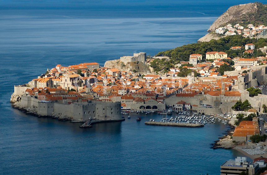 View of the Unesco proteced medieval old town the Bokar fortress and the port of Dubrovnik, Croatia, Europe. Dubrovnik is one of the most beloved holiday place in Croatia (also called as the Pearl of the Adriatic), and the centre of the Croatian language and literature