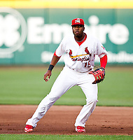 Xavier Scruggs (15) of the Springfield Cardinals on defense during a game against the Arkansas Travelers at Hammons Field on May 5, 2012 in Springfield, Missouri. (David Welker/Four Seam Images)