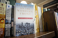 """""""All Quiet on the Western Front"""" by Erich Maria Remarque is seen on a bookstore shelf in New York on Wednesday, January 15, 2014. The book, considered to be the greatest anti-war novel of all time, is being reissued this year, as well as other WW1 books, for the 100th anniversary of World War I, the war to end all wars. The war began July 18, 1914 and the armistice for the war went into effect on the 11th hour of the 11th day of the 11th month in 1918. (© Richard B. Levine)"""