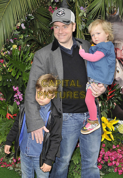 LONDON, ENGLAND - MARCH 30: Rufus Hound &amp; his children attend the &quot;Rio 2&quot; VIP film screening, Vue West End cinema, Leicester Square, on Sunday March 30, 2014 in London, England, UK.<br /> CAP/CAN<br /> &copy;Can Nguyen/Capital Pictures