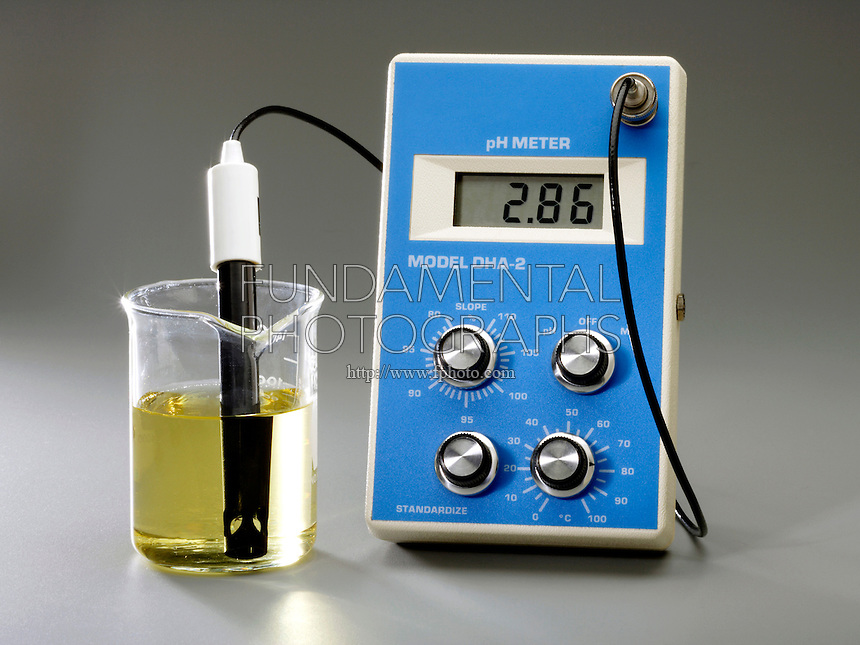 USING A pH METER WITH BROMOTHYMOL BLUE INDICATOR<br /> (2 of 3 - Variations Available).<br /> <br /> 0.10M Acetic Acid Has An Acidic pH of 2.86<br /> <br /> pH, used to express degree of acidity, is an index of hydrogen's chemical activity in a solution. At pH 2.86 the acid ( H3O+) is greater than the base (OH), the solution ,CH3COOH, is acidic & the indicator is yellow.