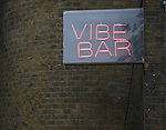 Vibe Bar neon sign, Brick Lane, London, E1, England
