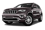 Stock pictures of low aggressive front three quarter view of 2016 JEEP Grand-Cherokee Overland 5 Door Suv Low Aggressive