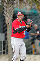 Carolina Mudcats pitcher Yean Carlos Gil (49) throwing in the bullpen before a game against the Myrtle Beach Pelicans at Ticketreturn.com Field at Pelicans Ballpark on June 4, 2015 in Myrtle Beach, South Carolina. Carolina defeated Myrtle Beach 3-2. (Robert Gurganus/Four Seam Images)