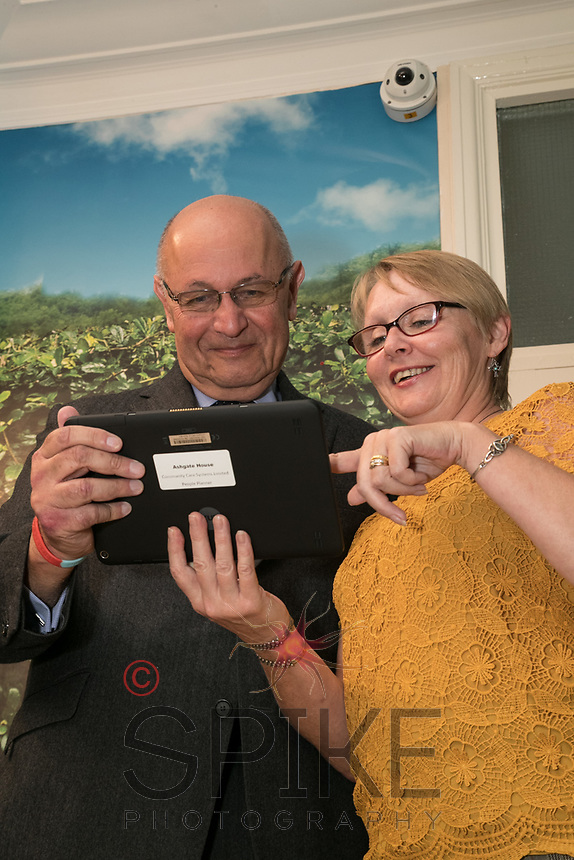 Brian Rosenberg, owner of Ashgate House Care Home, with manager Snadra Shires and one of the Care Protect cameras the home has had fitted.