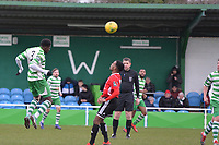 Junior Appiah Of Waltham Abbey heads during Waltham Abbey vs Bracknell Town, Bostik League South Central Division Football at Capershotts on 9th February 2019