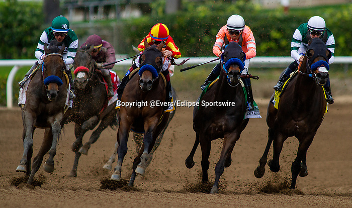 MAR 07: Flagstaff with Victor Espinoza defeats Raodster to win the San Carlos Stakes at Santa Anita Park in Arcadia, California on March 7, 2020. Evers/Eclipse Sportswire/CSM