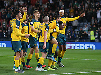 2nd November 2019; Hampden Park, Glasgow, Scotland; Scottish League Cup Football, Hibernian versus Celtic; The Celtic players celebrate to the Celtic supporters - Editorial Use