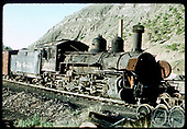Engineer's-side view of D&amp;RGW #464 stored in Durango in poor condition with missing parts.<br /> D&amp;RGW  Durango, CO