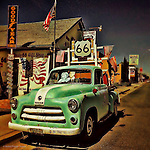 Vintage americana 50's car in petrol station
