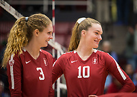 Stanford, CA - October 18, 2019: Holly Campbell, Kendall Kipp at Maples Pavilion. The No. 2 Stanford Cardinal swept the Colorado Buffaloes 3-0.