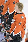Kyle Page 4 of Bowling Green lines up for the national anthem. The Eagles of Boston College defeated the Falcons of Bowling Green State University 5-1 on Saturday, October 21, 2006, at Kelley Rink of Conte Forum in Chestnut Hill, Massachusetts.<br />