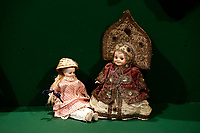 The Russian doll, a rare Armand Marseille doll made in 1917 wearing the typical Russian clothes and a kokosnik, among the 400 pcs collection of antique dolls from the 18th to the 19th century, among them famous names like Jumot, Marseille, Lenci, Rheinische Gummi, Steiff, Kruse, made of different materials, as porcelain, bisque, fabric, celluloid and composites.<br /> Antique toys exposed at Palazzo Braschi during the Exhibition 'For fun. Collection of antique toys of Capitoline Superintendency'.<br /> Rome (Italy), July 24th 2020<br /> Foto Samantha Zucchi Insidefoto