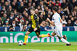 Borussia Dortmund Midfielder Christian Pulisic (L) in action during the Europe Champions League 2017-18 match between Real Madrid and Borussia Dortmund at Santiago Bernabeu Stadium on 06 December 2017 in Madrid Spain. Photo by Diego Gonzalez / Power Sport Images