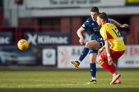 8th February 2020; Dens Park, Dundee, Scotland; Scottish Championship Football, Dundee versus Partick Thistle; Graham Dorrans of Dundee shoots under pressure from Reece Cole of Partick Thistle