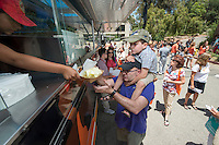 Food trucks. Occidental College alums enjoy a long weekend of activities and festivities both on campus and off during Alumni Reunion Weekend, June 21, 2013.<br /> (Photo by Marc Campos, Occidental College Photographer)