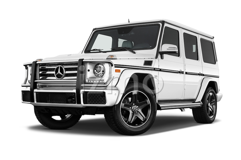Stock pictures of low aggressive front three quarter view of 2016 Mercedes Benz G-Class G550 5 Door SUV Low Aggressive