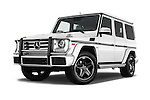 Stock pictures of low aggressive front three quarter view of 2018 Mercedes Benz G-Class G550 5 Door SUV Low Aggressive