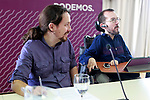 Pablo Iglesias, General Secretary (l) and Pablo Echenique, Secretary of Organization, during the Consejo Ciudadano Estatal - State Citizen Council of Podemos. (ALTERPHOTOS/Acero)