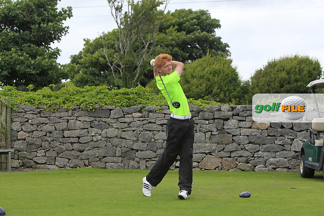 Connor Mulholland (Mount Juliet) on the 1st tee during R2 of the 2016 Connacht U18 Boys Open, played at Galway Golf Club, Galway, Galway, Ireland. 06/07/2016. <br /> Picture: Thos Caffrey | Golffile<br /> <br /> All photos usage must carry mandatory copyright credit   (&copy; Golffile | Thos Caffrey)