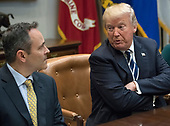 United States President Donald J. Trump makes opening remarks as he leads a prison reform roundtable in the Roosevelt Room of the White House in Washington, DC on Thursday, January 11, 2018.  At left is Governor Matt Bevin (Republican of Kentucky).<br /> Credit: Ron Sachs / CNP