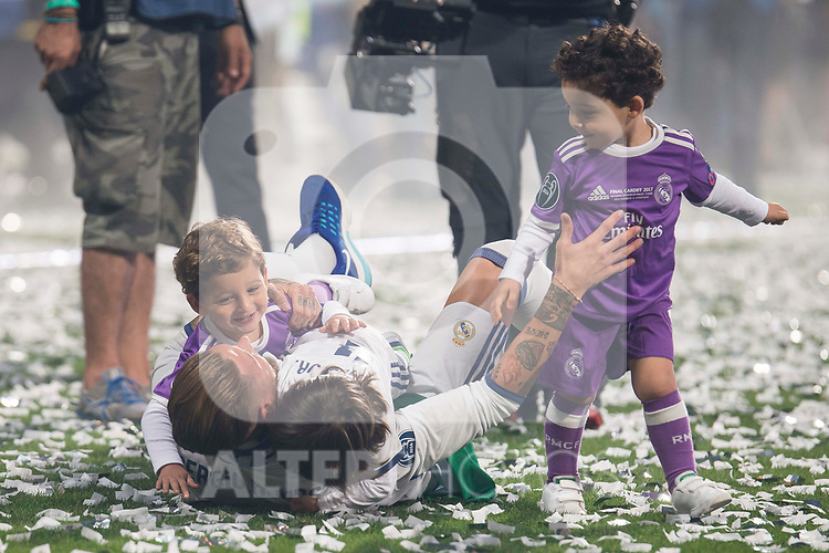 Real Madrid Sergio Ramos playing with his kids during the celebration of the 13th UEFA Championship at Santiago Bernabeu Stadium in Madrid, June 04, 2017. Spain.<br /> (ALTERPHOTOS/BorjaB.Hojas)