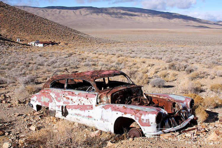 A 1947 Buick Roadmaster lies abandoned and rusting near Harrisburg and the Eureka Mine in Death Valley National Park.