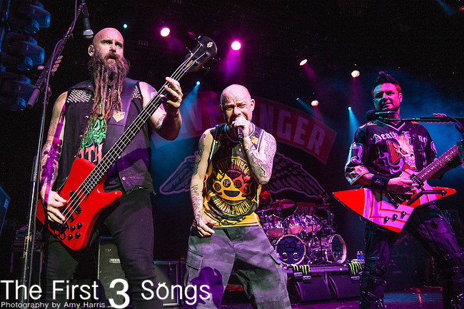 Ivan L. Moody, Chris Kael, and Jason Hook of Five Finger Death Punch performs during the 2016 ShipRocked Cruise. ShipRocked set sail January 18-22, 2016, from Miami to Costa Maya, Mexico on the Norwegian Pearl.