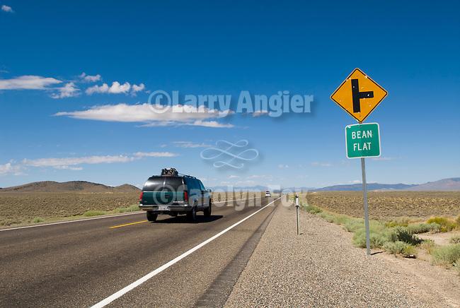 Side road for Bean Flat sign, along Nevada's U.S. 50, Eureka County.